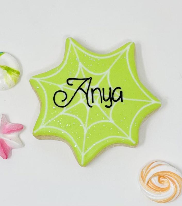 Personalized Halloween Spiderweb Cookies